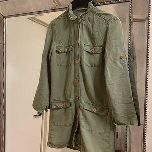 Mango Army Green Button Down Shirt Dress